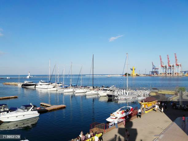 boats moored in sea - odessa ukraine stock photos and pictures