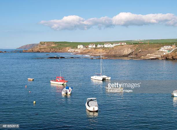 Boats moored in the bay Bude Cornwall UK