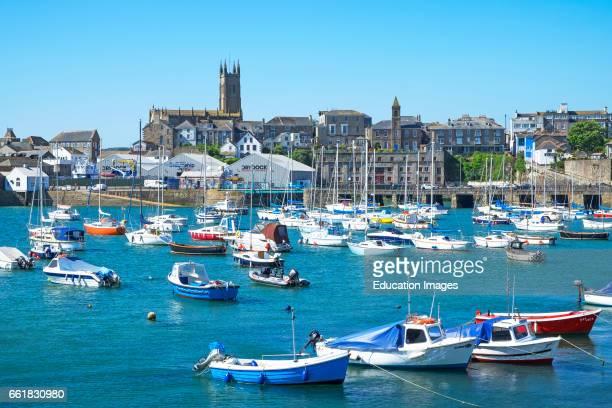 Boats moored in the harbor at penzance, Cornwall, England, Britain, UK.