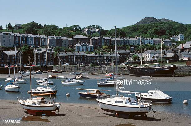 Boats moored in the harbour at the coastal town of Porthmadog in the Eifionydd area of Gwynedd Wales September 1983