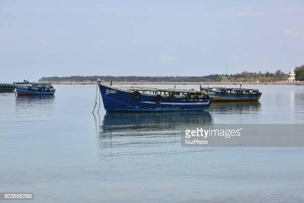 Boats moored near Nainativu Island in the Jaffna region of Sri Lanka