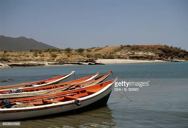 Boats moored near the beach Manzanillo beach Isla de Margarita Nueva Esparta Venezuela