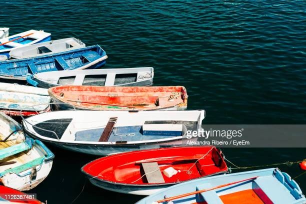 Boats Moored On Lake