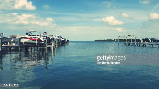 boats moored on pier at sea against sky - palm harbor stock pictures, royalty-free photos & images