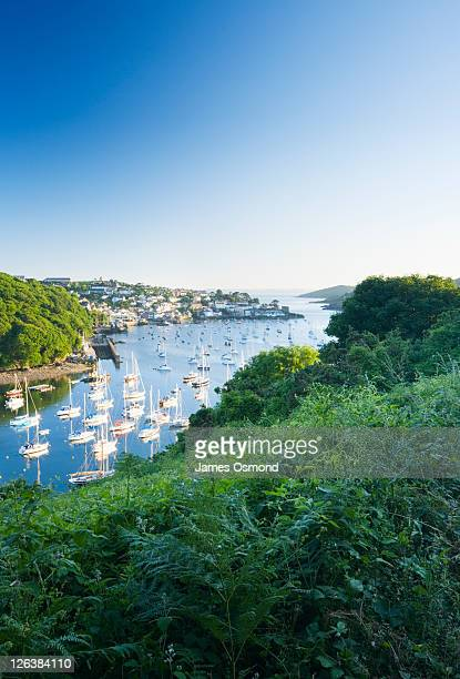 Boats moored on Pont Pill with Polruan and the River Fowey in the Distance, seen from the Hall Walk. Cornwall. England. UK.
