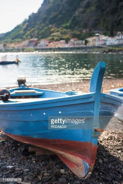 Boats moored on shore Sicily Italy Europe