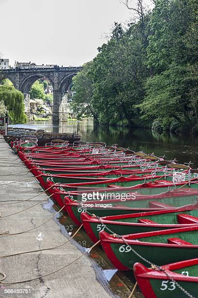 Boats moored on the river Nidd in Knaresborough.