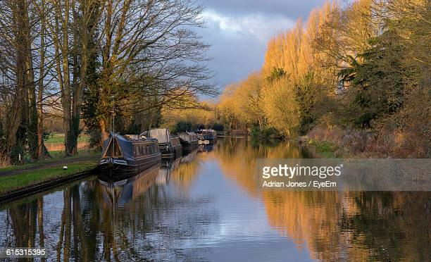 boats moored with trees reflection in grand union canal against sky - hertfordshire stock pictures, royalty-free photos & images