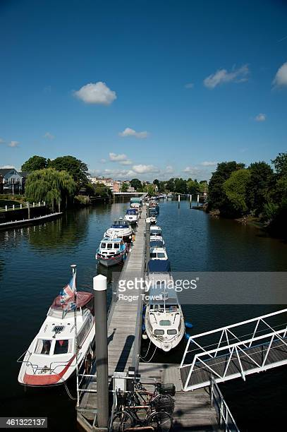 Boats mooring on the Thames at Teddington Lock in south west London.