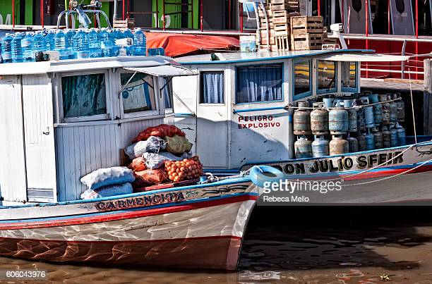 Boats of supplies for islanders of region