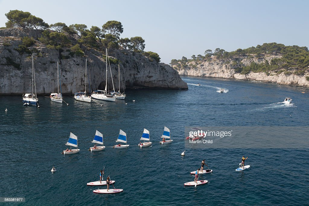 Boats on a calanque near Cassis : Stock Photo