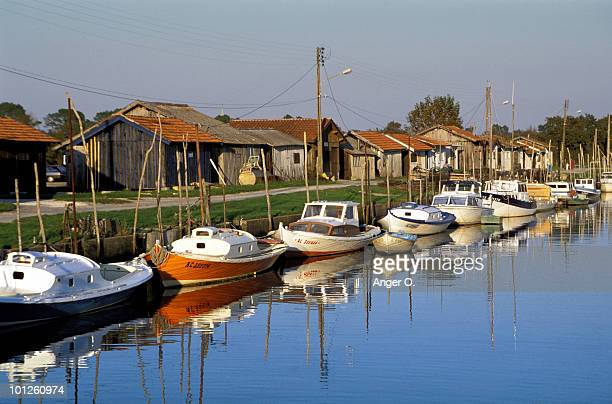 Boats on a canal, Arcachon, France