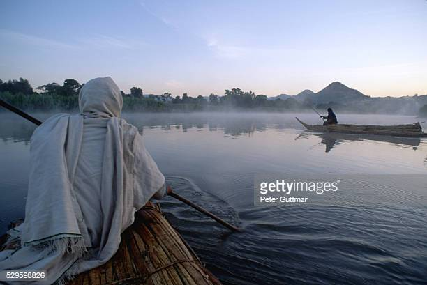 Boats on Blue Nile River at Dawn
