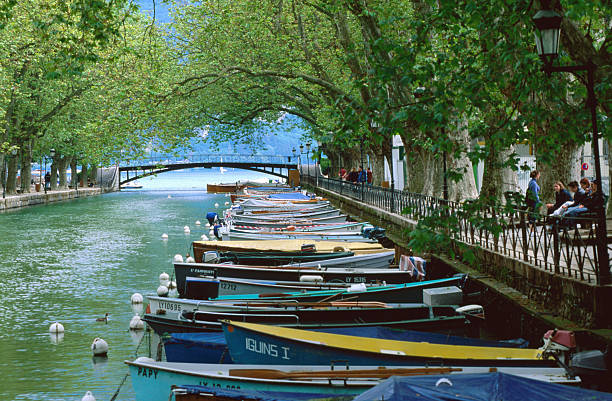Boats on Canal du Vasse, Annecy, Rhone-Alpes, France, Europe