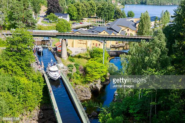 boats on canal, high angle view - dalsland stock photos and pictures