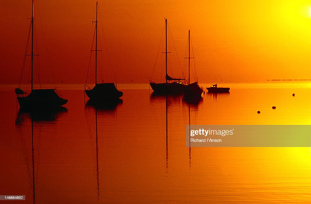 Boats on Corio Bay at sunrise in Geelong. : Stock Photo