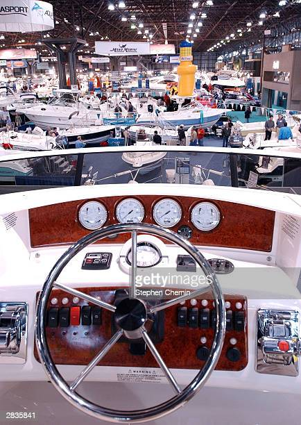 Boats on display are seen from the bridge of a 35foot Silverton yacht during the New York National Boat Show at the Jacob Javits Center December 29...