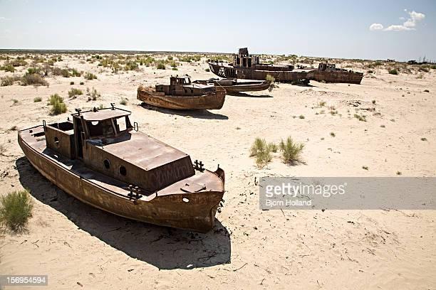 Boats on dried-out Aral Sea, Muynak, Uzbekistan