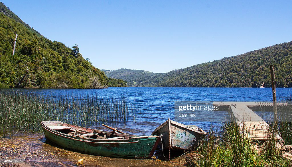 Boats on Lake in Huerquehue National Park : Stock Photo