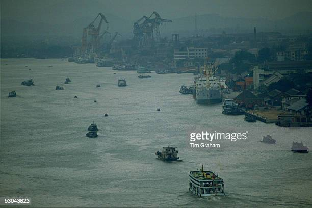 Boats on Pearl River at Canton in China