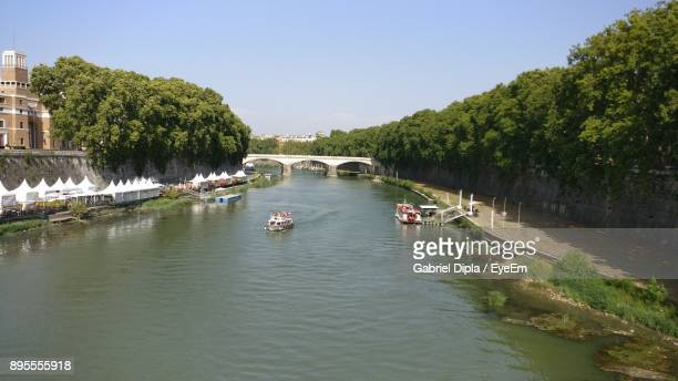 boats on river amidst trees against clear sky - south yorkshire stock pictures, royalty-free photos & images