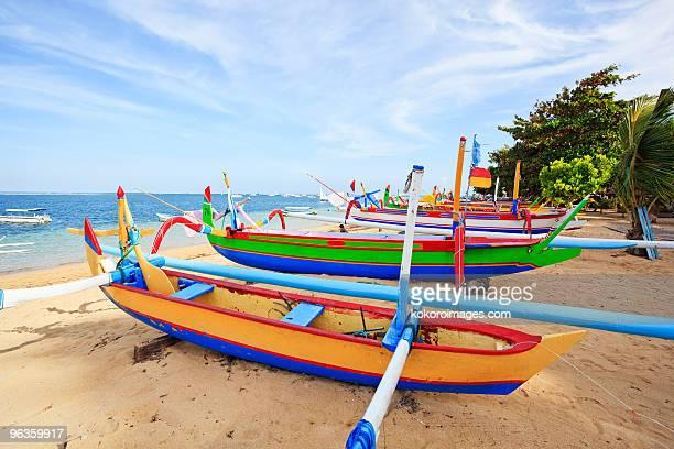 Boats on Sanur beach in Bali
