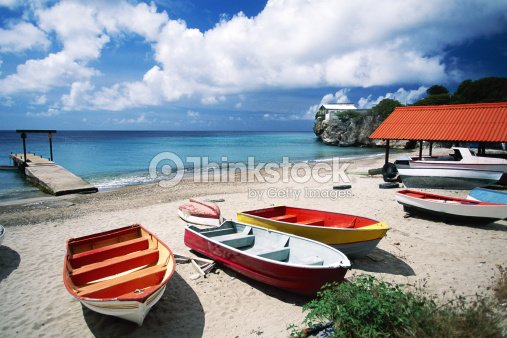 Boats On The Beach Curacao Stock Photo