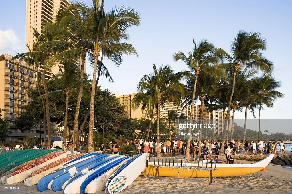 Boats on the beach, Waikiki Beach, Honolulu, Oahu, Hawaii Islands, USA : Foto de stock