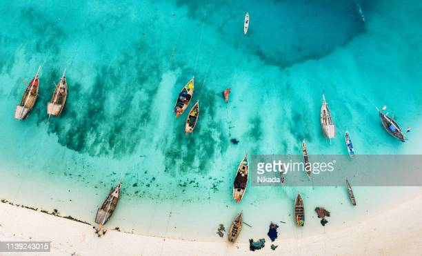 boats on the beautiful beach of zanzibar, africa - zanzibar island stock photos and pictures