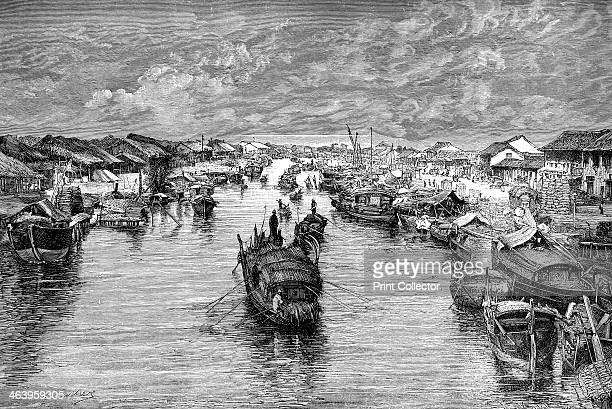 Boats on the Chinese Arroyo near Saigon Vietnam 1895 From The Universal Geography with Illustrations and Maps division XV written by Elisee Reclus...