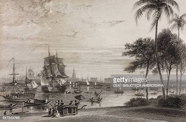 Boats on the Hooghly river in Calcutta engraving from the original drawing by William Daniell from The oriental annual or scenes in India descriptive...