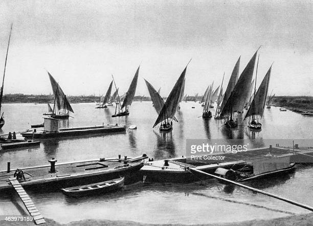 Boats on the Nile Cairo Egypt c1920s Plate taken From In the Land of the Pharaohs published by Lehnert Landrock