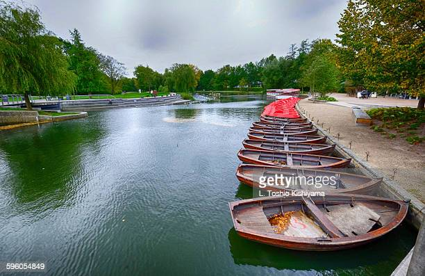 Boats on the Odense River in Denmark