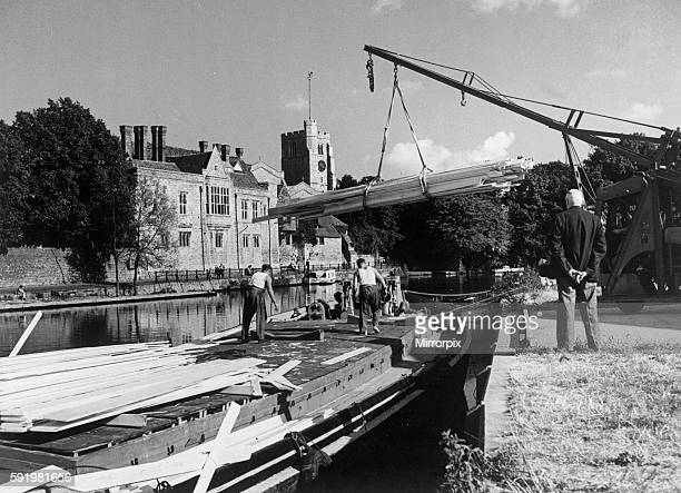 Boats on the River Medway showing the Archbishop's Palace in the background in the town of Maidstone Kent 1949