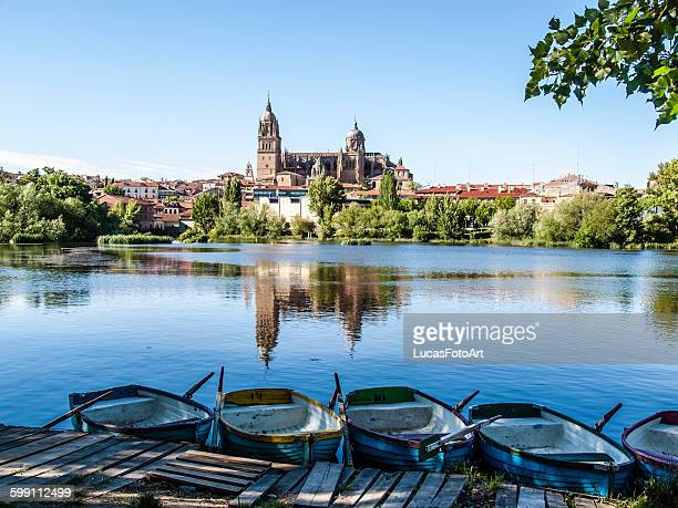 Boats on the river of Salamanca