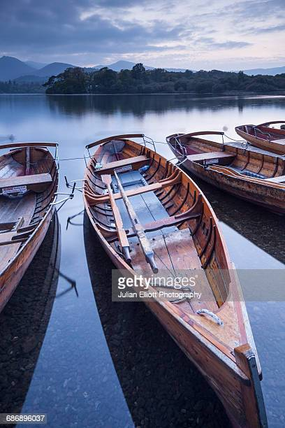 Boats on the shore of Derwent Water.