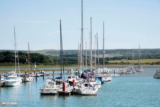 Boats on the Western Yar a scenic location on the Isle of Wight..