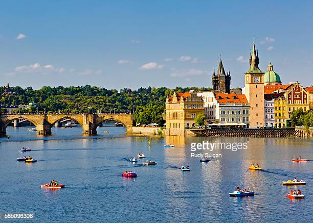 Boats on Vltava River in Prague