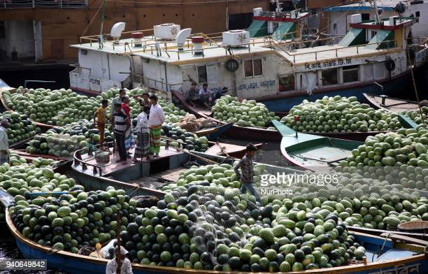 Boats packed with watermelons reach Dhaka's Badamtali terminal later than usual increasing supplies The start of their season was marked by...
