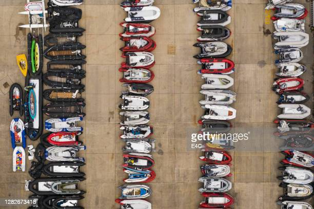 boats previously used by migrants to cross the english channel - politics and government stock pictures, royalty-free photos & images