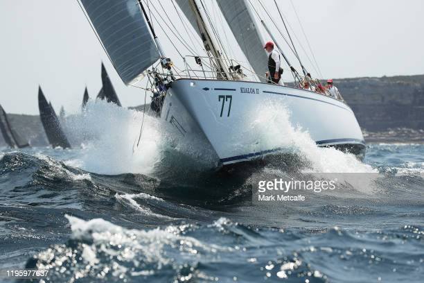 A boats races through Sydney heads during the 2019 Sydney to Hobart on December 26 2019 in Sydney Australia
