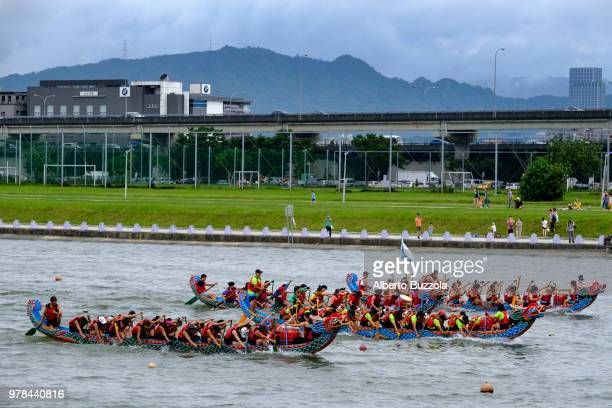 Boats racing along the Keelong River in occasion of the 2018 edition of the Dragon Boat Festival The now internationally known fun race attracts...