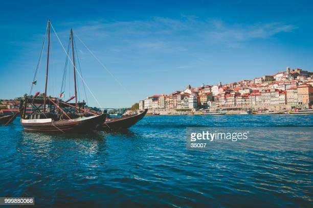 boats resting in porto harbor in portugal