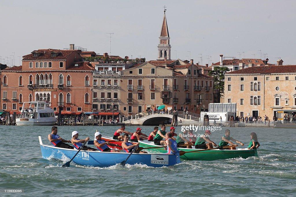 Boats sail in front of Riva degli Schiavoni before the Regatta of Ancient Maritime Republics on June 12, 2011 in Venice, Italy. The Regatta of Ancient Maritime Republics runs every year in one of four places; Venice, Pisa, Amalfi and Genova.