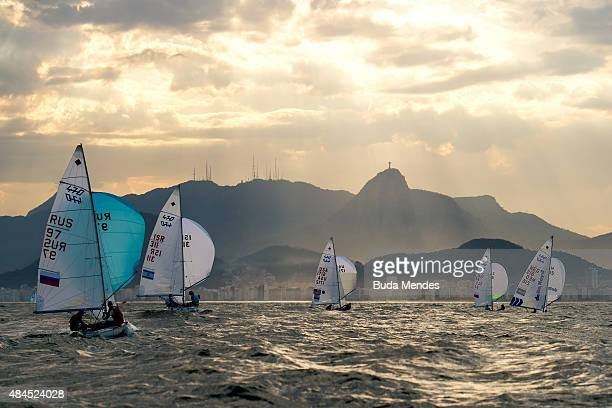 Boats sail in the 470 class on the Copacabana course during the International Sailing Regatta Aquece Rio Test Event for Rio 2016 Olympics on August...