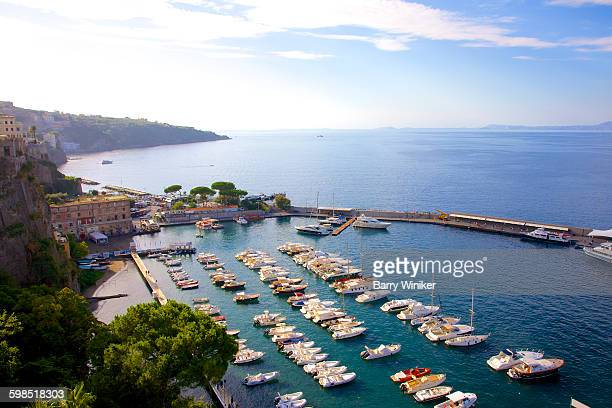 boats seen from above in sorrento, italy - sorrento stock pictures, royalty-free photos & images
