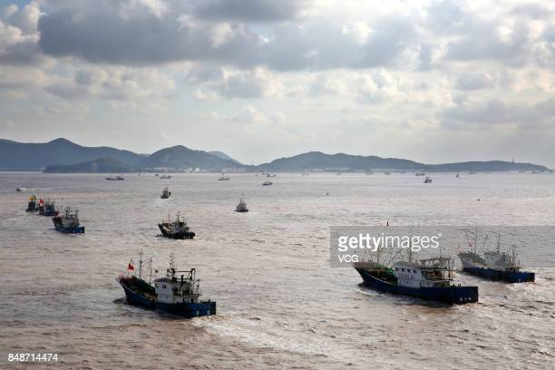 Boats set sail to the East China Sea for fishing on September 17 2017 in Zhoushan Zhejiang Province of China