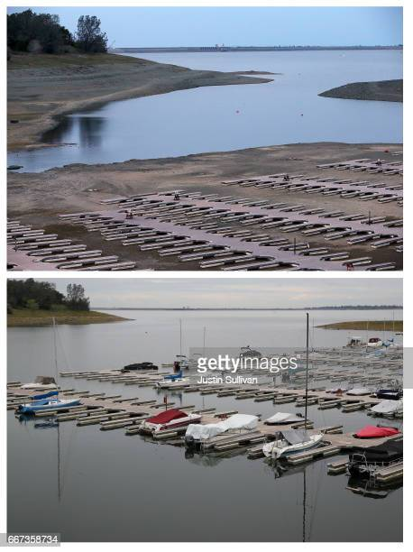 In this composite image a comparison has been made between a view of California during severe drought in 2014 and during the week that the majority...