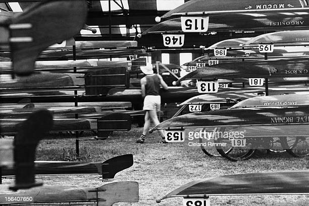 Boats stacked up, ready for the Henley Royal Regatta, Henley, UK, 1st July 1964.