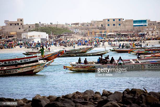 Boats surround Ngor beach Dakar, Senegal, Africa